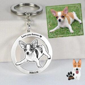 מחזיק מפתחות בעיצוב אישי של הכלב שלכם - חריטה חלולה מצופה טיטניום